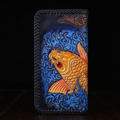 Handmade Leather Mens Clutch Wallet Tooled Cool Carp Wallet Long Zipper Wallets for Men