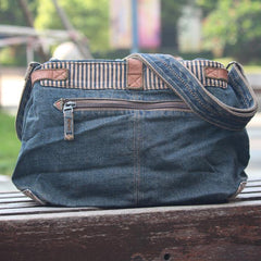 Blue Denim Mens Casual Small Messenger Bags Jean Postman Bag Courier Bag For Men