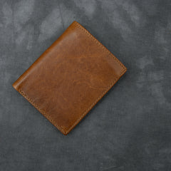 Brown Waxed Leather Mens Small Wallet Short Trifold Card Wallet For Men