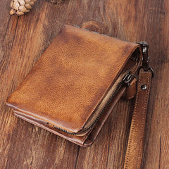Handmade Leather Mens Chain Biker Wallet Cool Leather Wallet Wrist Wallets for Men