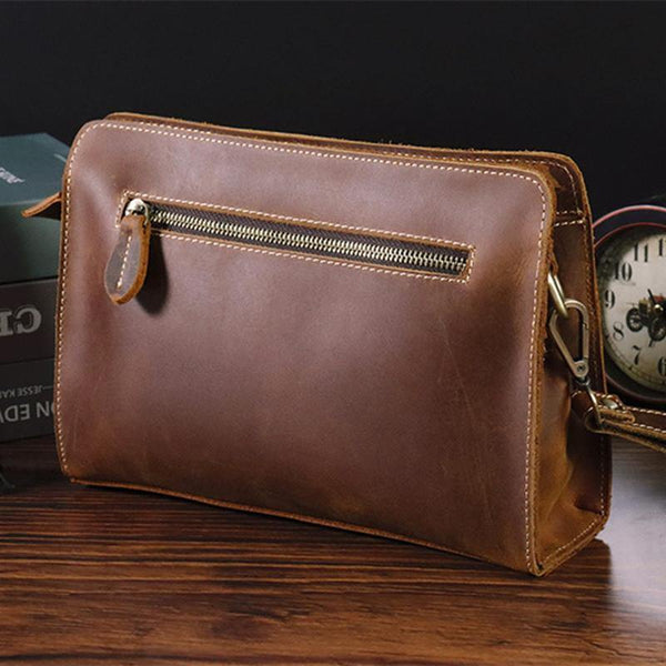 Vintage Brown Mens Clutch Wallet Leather Zipper Clutch Wristlet Purse Bag Clutch Bags For Men