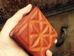 Genuine Leather Mens Cool Short Leather Wallet Zipper Clutch Wristlet Wallet for Men