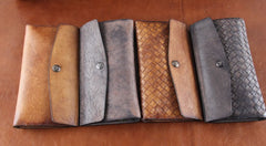 Handmade Leather Mens Clutch Cool Braided Wallet Clutch Wristlet Wallet for Men