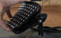 Genuine Leather Mens Clutch Cool Slim Wallet Long Zipper Clutch Wristlet Wallet for Men