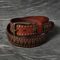 Black Fashion Leather Metal Rock Belt Motorcycle Belt Brown Punk Leather Belt For Men