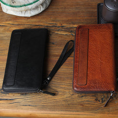 Genuine Leather Mens Cool Long Leather Wallet Biker Wallet Zipper Clutch Wristlet Wallet for Men