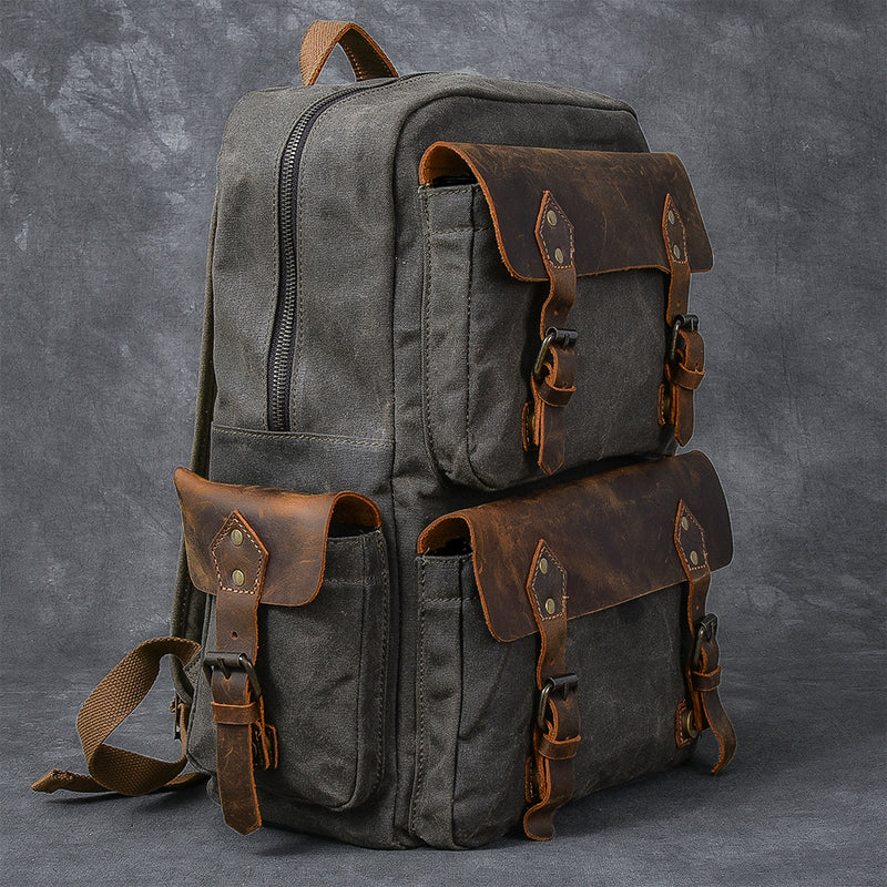 "Waxed Canvas Leather Mens 15"" Laptop Backpack Army Green Travel Backpack College Backpack for Men"