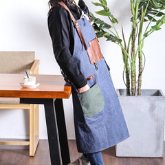 Canvas Leather Mens Womens Gray Craftsman Cafe Staff Clothes Work Apron for Men
