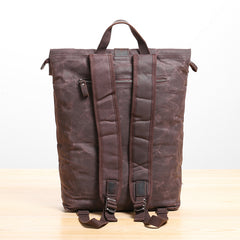 Waxed Canvas Mens Womens 14'' Travel Backpack Roll Up Backpack School Backpack for Men