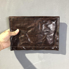 Simple Leather Black Mens Envelope Clutch Bag Vintage Coffee Clutch Wallet for Men