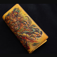 Handmade Leather Tooled Chinese Lion Mens Chain Biker Wallet Cool Leather Wallet With Chain Wallets for Men