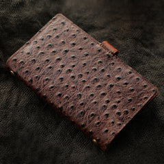 Creative Handmade Ostrich Pattern Leather A6 Travel Notepad Brown Notebook For Men