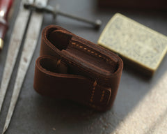 Brown Handmade Leather Mens Zippo Lighter Case With Belt Loop Zippo  Standard Lighter Holders For Men