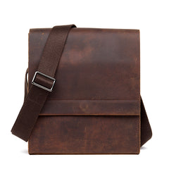 Dark Brown Casual Leather 8 inches Shoulder Vertical Postman Bag Messenger Bags Courier Bag for Men