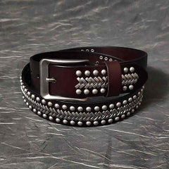 Cool Black Leather Metal Rock Belt Brown Motorcycle Punk Rivet Belt Leather Belt For Men