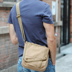 Khaki CANVAS Small MENS Black Vertical Shoulder Bag Messenger Bag Side Bag For Men