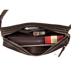 Cool Dark Brown Leather Mens Fanny Pack Waist Bag Hip Pack Belt Bags Bumbags for Men