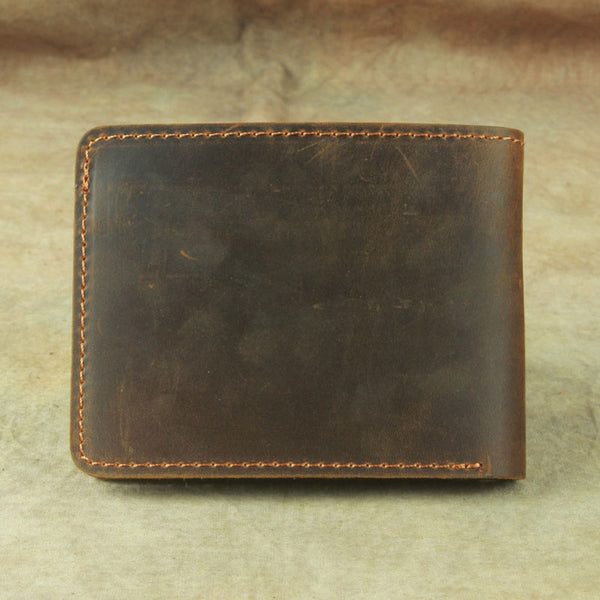 Vintage Mens Leather Slim Bifold Small Wallet Cool Short Slim Small Wallet for Men