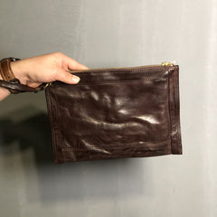 Handmade Leather Mens Small Envelope CLutch Bag Clutch Wallets Wristlet Bag For Men