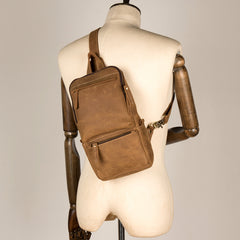 Cool Light Brown Leather Mens 10 inches Sling Bag Crossbody Pack Chest Bag for men