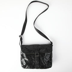 Vintage Coffee LEATHER MEN'S Side BAG 10 inches Courier Bag MESSENGER BAG CHEST BAG Black Postman BAG FOR MEN