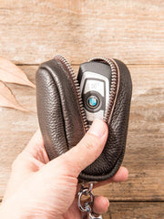 Black Leather Mens Small Car Key Wallets Brown Key Holder Car Key Pouch For Men