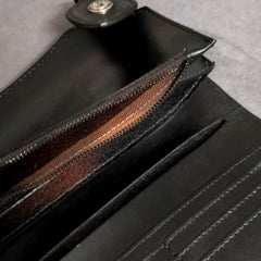 Black Casual Leather Mens Bifold Long Wallet Biker Wallet Black Long Chain Wallet For Men