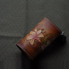 Handmade Leather Tooled Lily Flower Biker Mens Cool Car Key Wallet KeyChain for Men