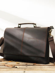 Dark Brown Leather Mens Large 14 inches Work Briefcase Laptop Bag Messenger Bags Work Side Bags for Men