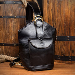Black Leather Mens Cool Bucket Small Sling Bags Backpack Crossbody Pack Chest Bag for Men