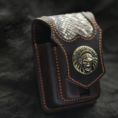 Cool Handmade Indian SKull Leather Mens Cigarette Case with Lighter Holder Belt Loop for Men
