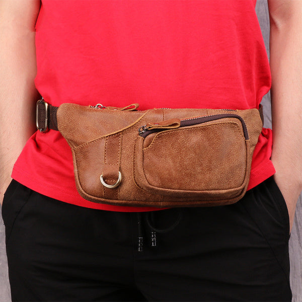 Badass Leather Fanny Pack Men's Brown Chest Bag Hip Bag Waist Bag For Men