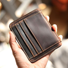 Vintage Brown Slim Leather Mens Card Wallet Small Card Holder Front Pocket Wallet For Men