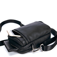 Black Leather Mens MIni Side Bag Messenger Bag Camel Phone Bag Shoulder Bag For Men