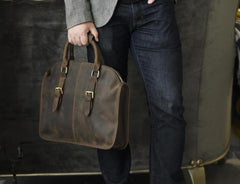 Handmade Leather Mens Cool Messenger Bag Briefcase Work Bag Business Bag for men