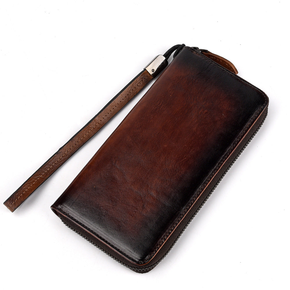 Handmade Leather Men's Zipper Long Wallet Clutch Wallet Wristlet Wallet For Men