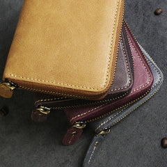 Handmade Leather Mens Cool Slim Leather Wallet Men Zipper billfold Wallets Bifold for Men