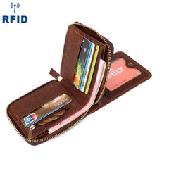 Fashion RFID Black Leather Men's Zipper Small Wallet Brown Zipper Short Wallet For Men