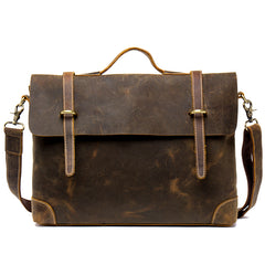 Vintage Dark Brown Leather 15 inches Briefcase Messenger Bags Work Side Bags for Men