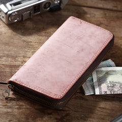 Simple Handmade Mens Red Long Wallet Blue Bifold Long Card Wallet Clutch Zipper Wallet For Men