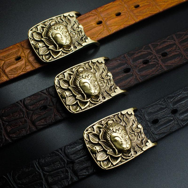 Handmade Genuine Leather Punk Rock Buddha&Demon Mens Cool Men Biker Trucker Leather Belt