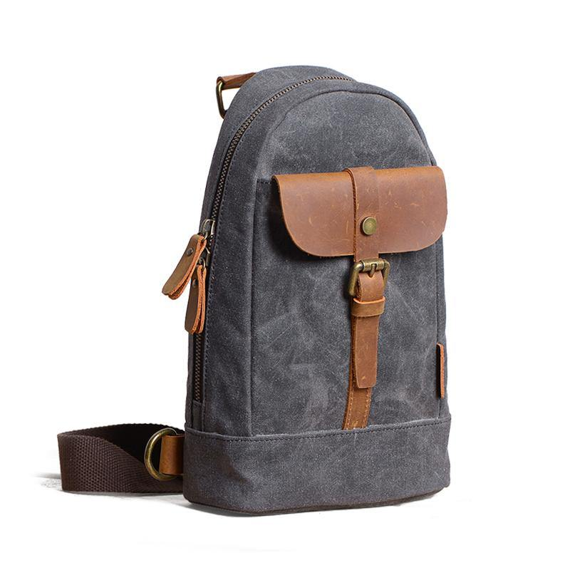 Canvas Leather Mens Sling Backpack Black Chest Bag Sling Pack Sling Bag For Men