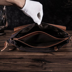 Oil Wax Leather Mens Brown Small Messenger Bag Postman Bag Courier Bag Shoulder Bag for Men