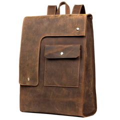 Black Fashion Mens Leather 14-inch Computer Backpack Dark Brown Satchel Backpacks School Backpacks for men