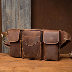 Cool Brown Leather Mens Fanny Pack Tool Waist Bags Hip Pack Belt Bag Bumbags for Men