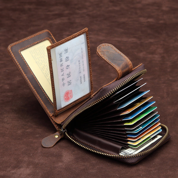 Brown Leather Billfold Cards Wallet for Men Small License Wallet Cards Wallets For Men