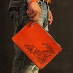 Cool Handmade Tooled Leather Tan Chinese Lion Clutch Wallet Wristlet Bag Clutch Purse For Men