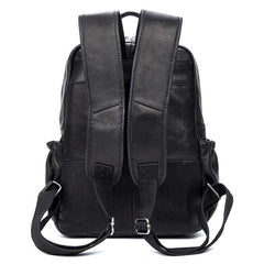 Black Business Mens Leather 14-inch Computer Backpacks Cool Travel Black Backpacks School Backpack for men