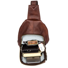 Casual Leather Brown Mens Sling Pack Sling Bags Chest Bag One Shoulder Backpack for Men
