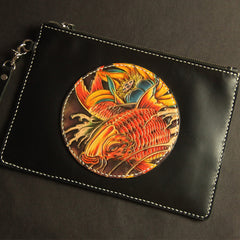 Cool Handmade Tooled Leather Carp Clutch Wallet Wristlet Bags Clutch Purse For Men